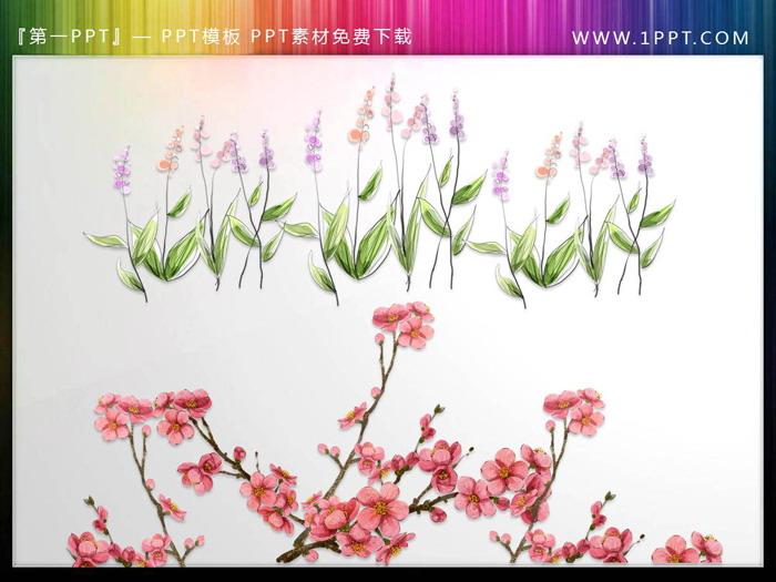 一组唯美水彩花卉PPT插图