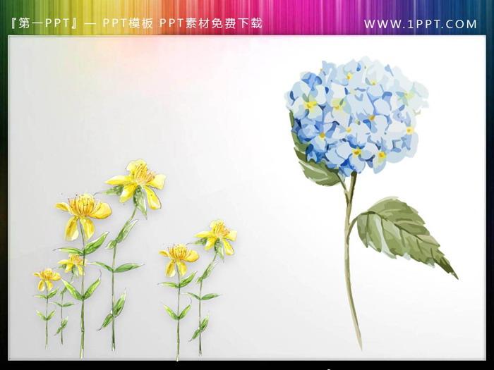 一�M唯美水彩花卉PPT插�D