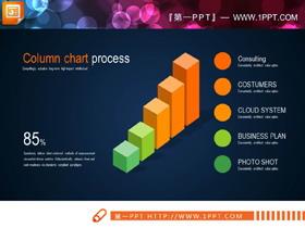 16张绿橙配色的PPT柱状图