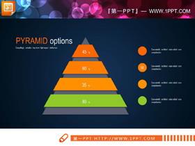 10张金字塔形层级关系PPT图表