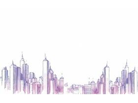 水彩城市建筑PPT背景图片