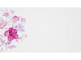 粉色水彩花卉PPT背景�D片