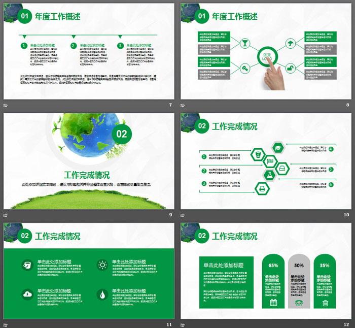 绿色地球背景的环境保护PPT模板