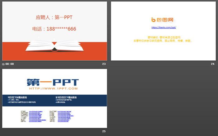扁平化橙色个人简历PPT模板