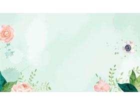 淡雅清新水彩�G�~�t花PPT背景�D片