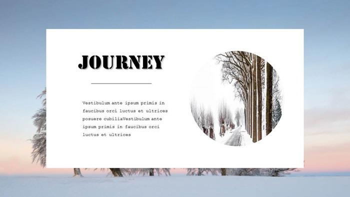 唯美冬季雪景背景的旅行相册PPT模板