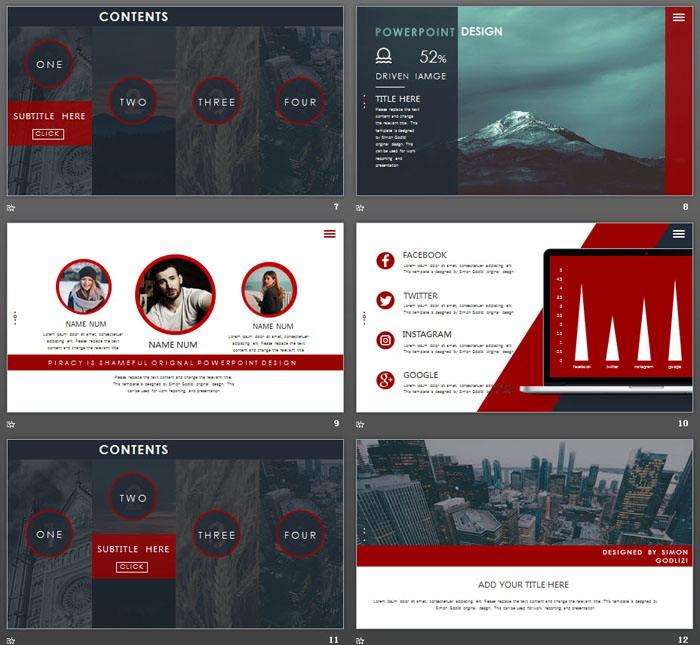 蓝红网页风图片排版设计欧美PPT模板