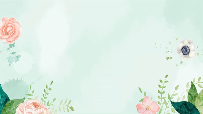 淡雅清新水彩绿叶红花PPT背景图片