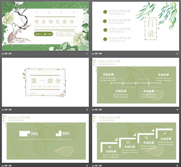 绿色清新唯美森林花卉小鹿PPT模板