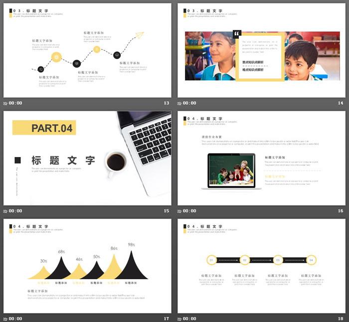 另类黄黑配色商务办公主题PPT模板-三网云-小程序源码|商业源码|专注精品源码|免费下载网站|分享不一样的源码资源平台