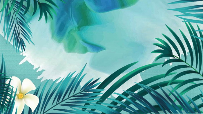 一组绿色水彩植物叶子PPT背景图片