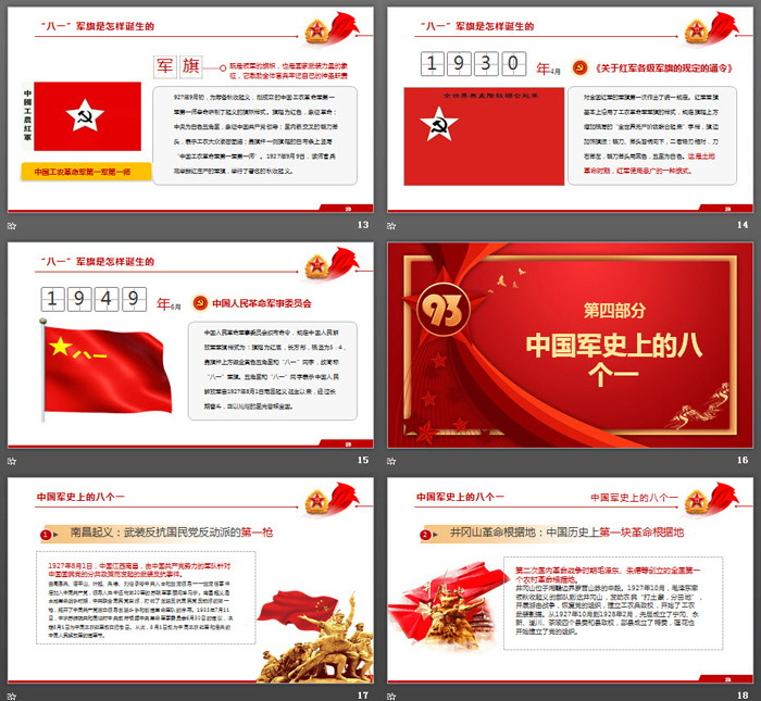 《学习军史爱国爱军》中国人民解放军建军93周年PPT模板