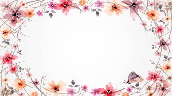 两张暖色水彩花卉必发88背景图片