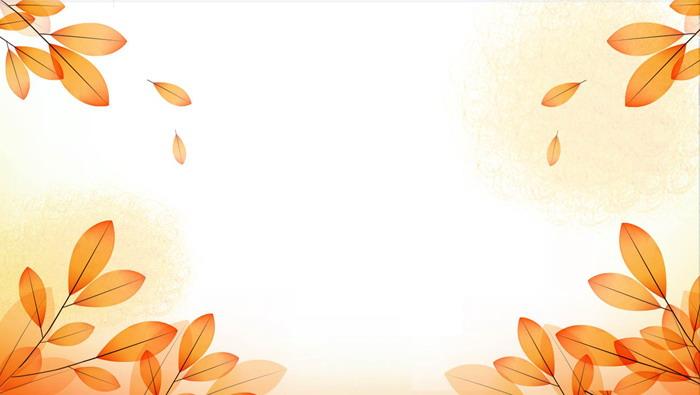 两张橙色秋天的叶子PPT背景图片