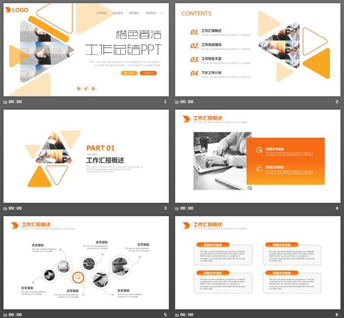 简约三角形橙色形状白色背景工作总结PPT模板-三网云-小程序源码|商业源码|专注精品源码|免费下载网站|分享不一样的源码资源平台