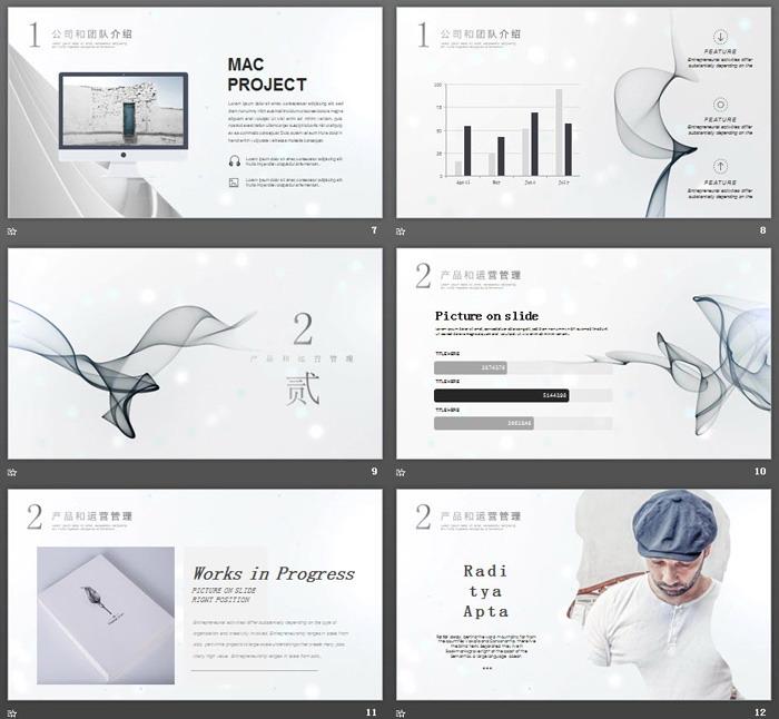 极简烟雾效果背景的创业融资计划书PPT模板