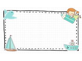 小鸟轮船小仙女卡通PPT背景图片