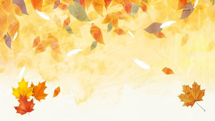 唯美金色水彩叶子PPT背景图片