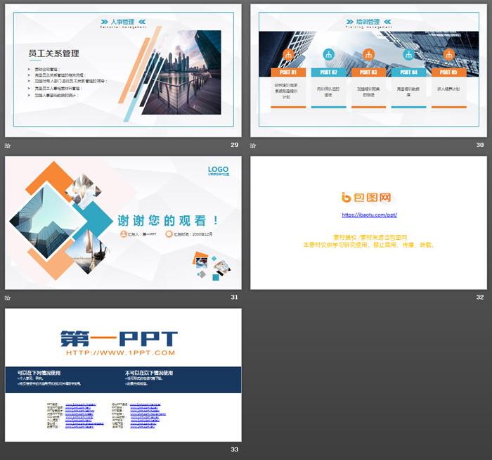 彩色方形组合背景人力资源部工作总结PPT模板