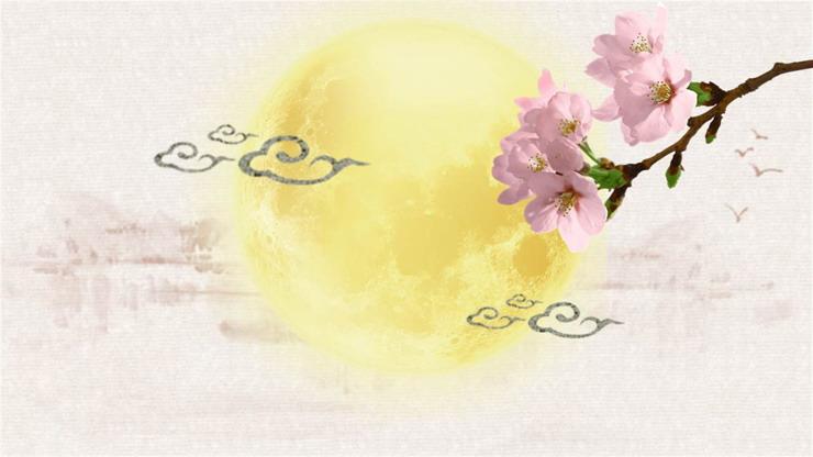 淡雅水墨荷花月亮中秋节必发88背景图片
