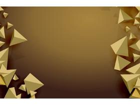 金色立体三角形PPT背景图片