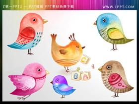 可爱水彩卡通小鸟PPT插图