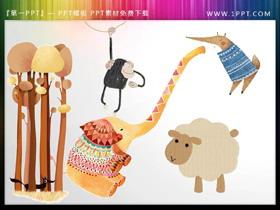 卡通大象绵羊狐狸猴子PPT素材