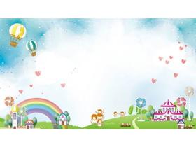 卡通热气球彩虹城堡PPT背景图片