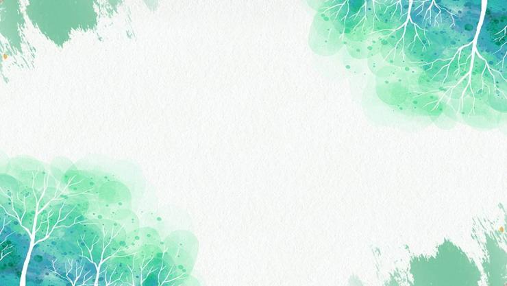 绿色水彩树木PPT背景图片
