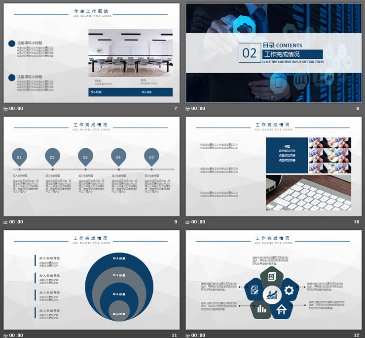 深蓝色IT互联网行业工作总结计划PPT模板