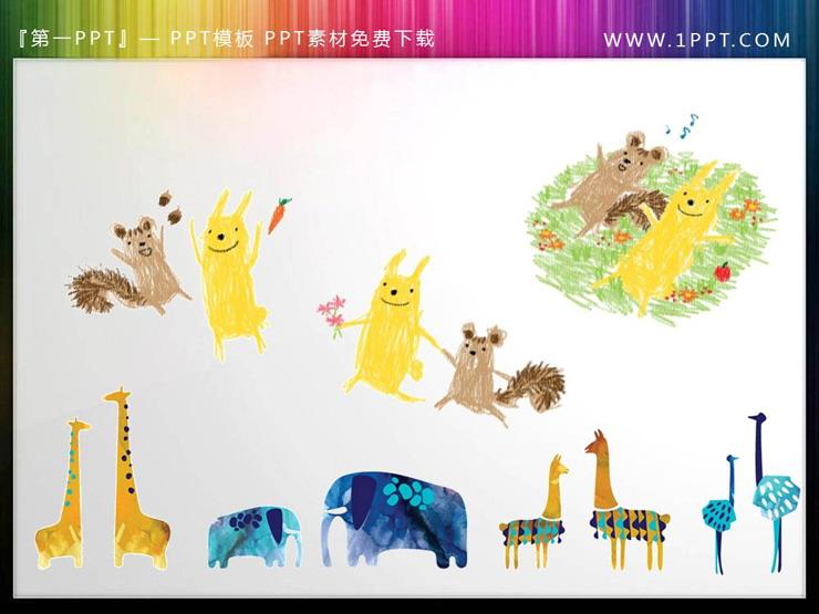 卡通小鸟狮子大象鳄鱼长颈鹿PPT素材