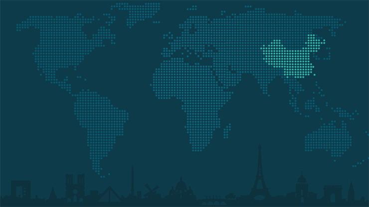 两张蓝色世界地图点阵图PPT背景图片