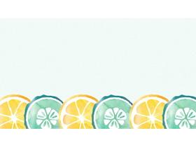 ���水彩橙子切片PPT背景�D片