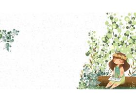绿色可爱卡通女孩PPT背景图片