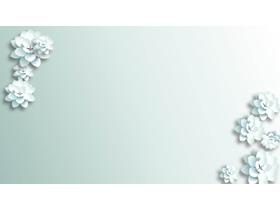 唯美银白色花朵PPT背景图片