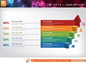 39页彩色扁平化商务演示PPT图表大全