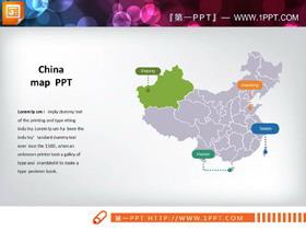一张中国地图与一张世界地图PPT图表