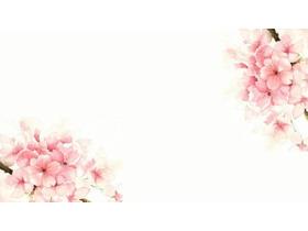5张粉色水彩桃花PPT背景图片