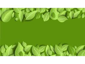 精致绿色UI风格植物叶子PPT背景图片