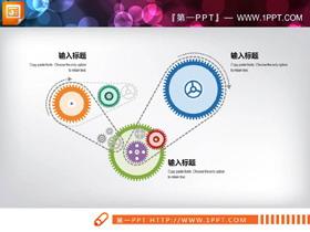多个齿轮组联动PPT图表