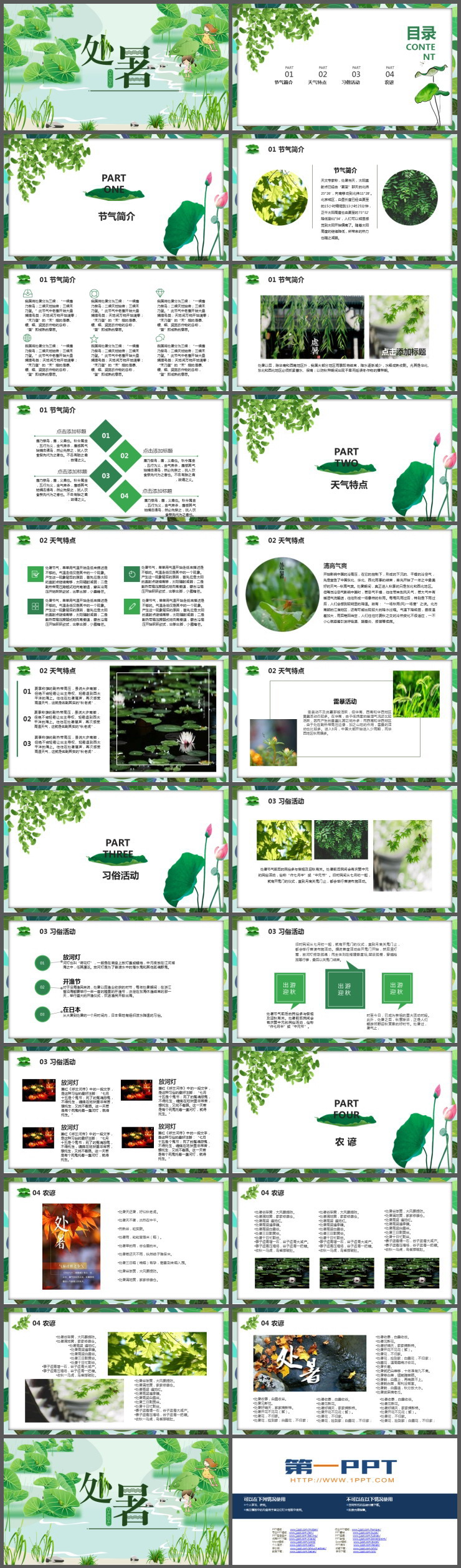 绿色荷叶背景的处暑节气介绍PPT