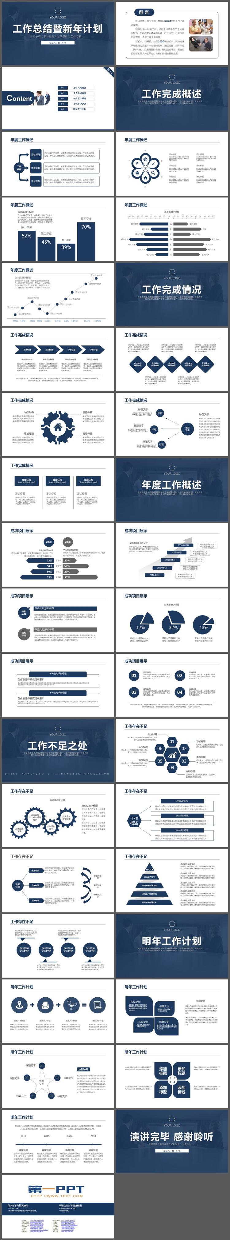 简洁深蓝色稳重年终工作总结暨新年工作计划PPT模板