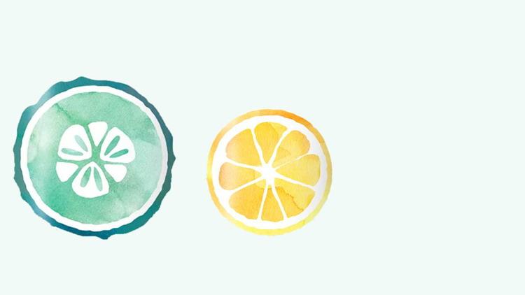 简洁水彩橙子切片PPT背景图片