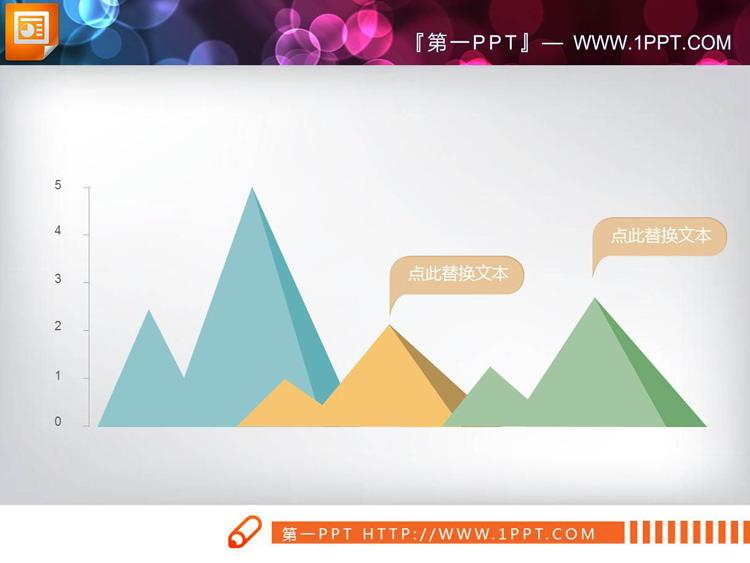 三张彩色扁平化PPT折线图