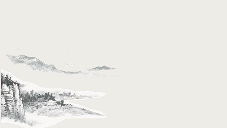 9张水墨山水中国风PPT背景图片