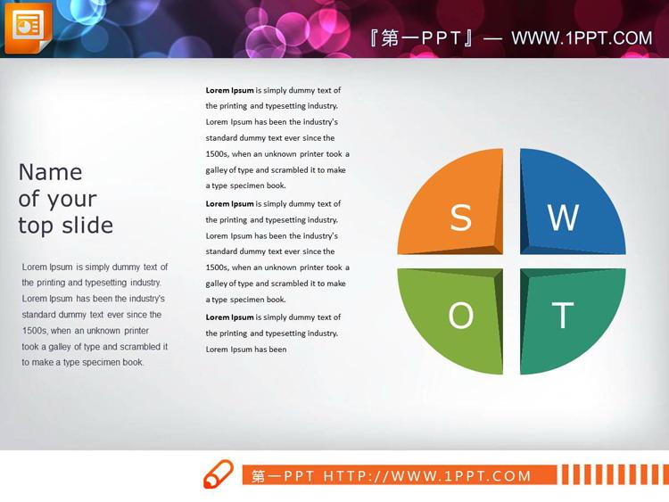 三套彩色SWOT分析图表