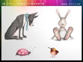 卡通手绘大灰狼与小白兔PPT素材