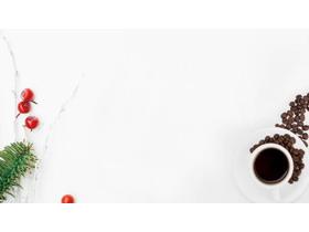 ���清新咖啡杯咖啡PPT背景�D片