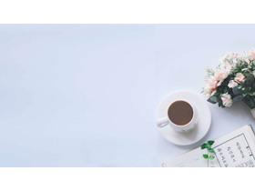 ���咖啡杯�r花��籍PPT背景�D片