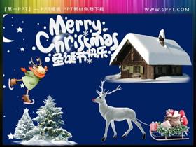 Merry Christmas雪屋驯鹿雪松圣诞节PPT素材